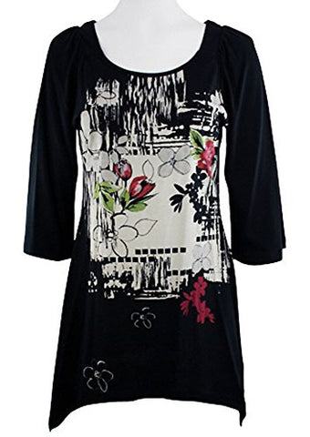 Katina Marie - Orient Print, 3/4 Sleeve, Printed Scoop Neck Black Foiled Tunic
