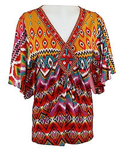 Joyous & Free - Paisley Print, Elbow Sleeve Tunic with Round Neck Collar