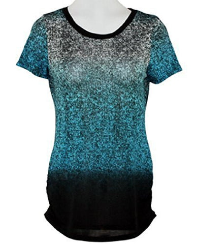 Cubism - Turquoise Ombre, Side Shirred, Contrast Gradient Print Top