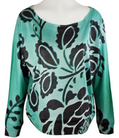 Vintage Highway - Green Floral Dolman, Long Sleeve, Top with Soft Burn Outs