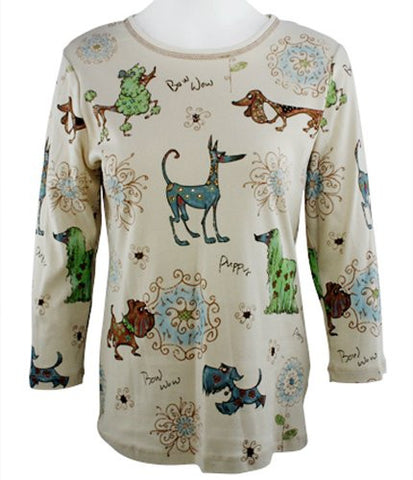 Cactus Fashion - Dog & Ornament, Ivory Colored Cotton Print Rhinestone Top