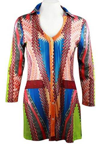 Boho Chic - Abstract Thoughts, Lightweight Geometric Pattern Sheer V-Neck Tunic