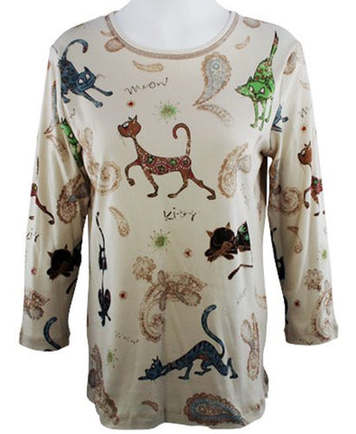Cactus Fashion - Cat & Paisley, 3/4 Sleeve, Ivory Printed Cotton Rhinestone Top