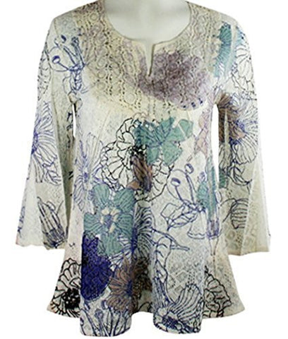 California Bloom Floral Print Long Sleeve Top with a Crochet Trimmed Scoop Neck