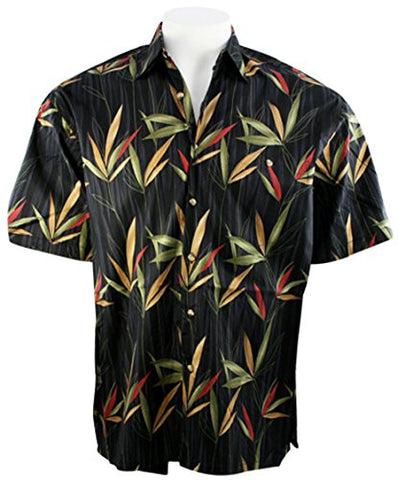 Bamboo Cay - Bamboo Garden, Tropical Style Black Colored Button Front Shirt