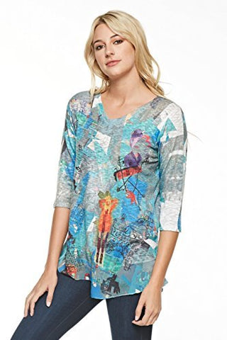 Inoah - Lost Child, V-Neck Chiffon Trim Wearable Art colorful Print Knit Tunic Top