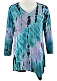 Impulse California Teal & Purple Tie Dye Asymmetric Hem V-Neck 3/4 Sleeve Tunic
