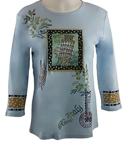 Jess & Jane, Hand Block Print, Scoop Neck, Light Blue Top - Trip to Italy