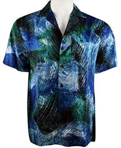 Kalaheo by RJC - Palm Fronds, Single Pocket, Classic Hawaiian Button Front Casual Tropical Shirt