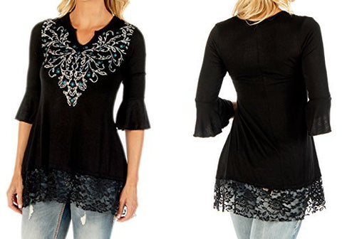 Liberty Wear Sapphire Vines, Split V-Neck Half Flared Sleeve Rhinestone Accent Top