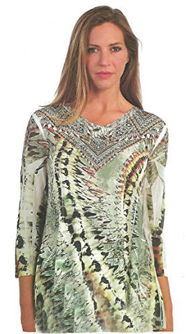 Cactus Fashion - Grand Ethic, Geometric Print Rhinestone Burnout Tunic Top