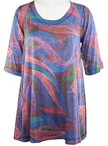 Nally & Millie - Geo Swag, Lightweight Scoop Neck Short Sleeve Knit Tunic Top