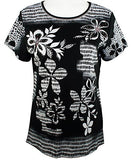 Cactus Fashion - Floral & Pattern, Short Sleeve, Printed Cotton Rhinestone Top
