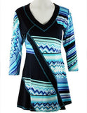 Lior Paris - Zig-Zag Stripes, Blue & White Geometric Tunic with Trimmed V-Neck