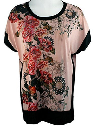 Cactus Fashion - Vertical Flowers, Short Sleeve, Color Block Rhinestone Top