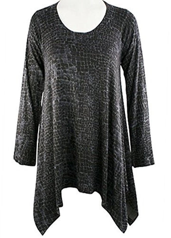 Nally & Millie - Square Deal, Scoop Neck Asymmetric Tunic on a Long Sleeve Body