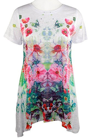 Cactus Fashion - Floral Array, Short Sleeve, Sublimation Print Rhinestone Top