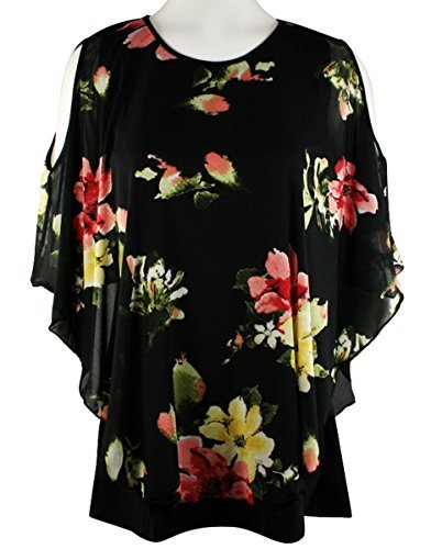 Fantazia Apparel Cold Shoulder Scoop Neck Sheer Cover Tunic Floral Black  Print