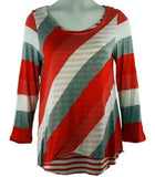 Boho Chic Clothing - Orange & White, Horizontal & Diagonal Stripes Top