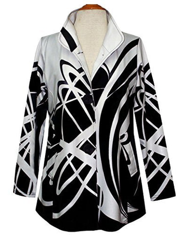 Valentina Signa - Geo Swirls, Long Sleeve Button Front Casual Fashion Jacket