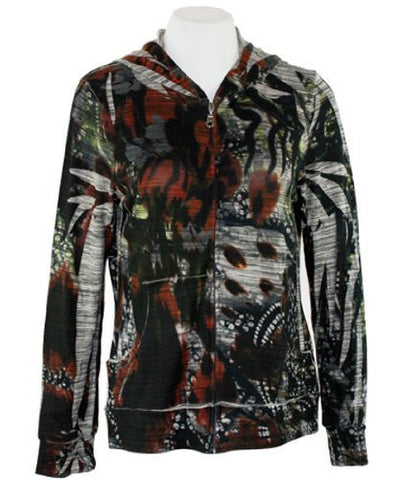 Cubism Divine Passion, Hoodie Geometric Print with Zipper & Front Pockets