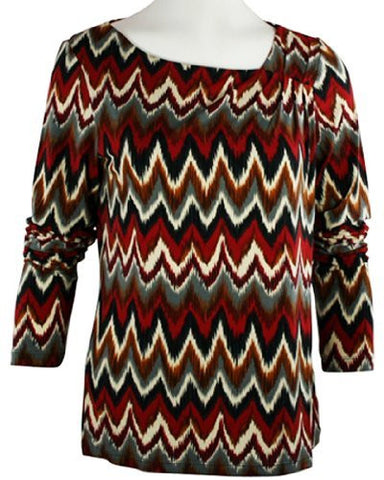 Tribal - Pleated Aztec Top with Asymmetrical Hem on a Microfiber & Spandex Body