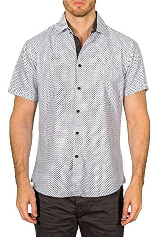 Bespoke White Button Front Contrast Trim Short Sleeve Casual or Dress Mens Shirt