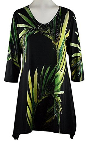 Valentina Signa - Green Leaves, 3/4 Sleeve V-Neck Tunic Rhinestone Highlights