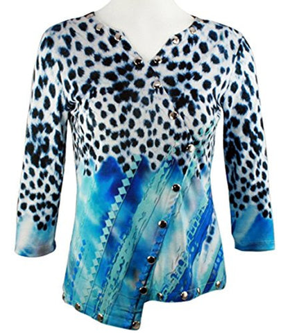 Boho Chic - Animal Strings, 3/4 Sleeve V-Neck Chrome Snap Accents Fashion Top