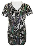 California Bloom Print Short Sleeve Top accented with White & Green Rhinestones