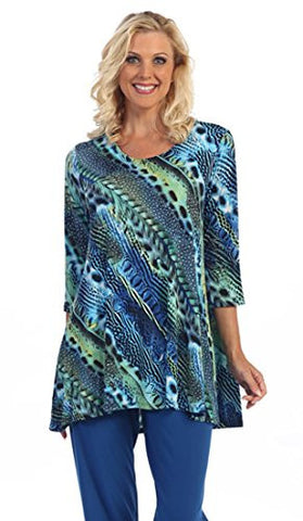 Caribe - Geometric Print, Dual Pockets, 3/4 Sleeve Scoop Neck Swing Tunic