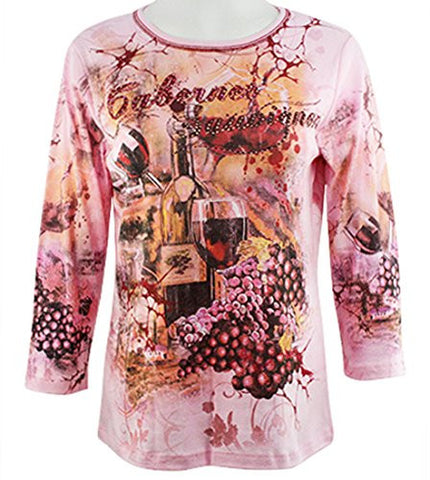 Cactus Fashion - Cabernet Sauvignon, 3/4 Sleeve, Rhinestone Accents Cotton Top