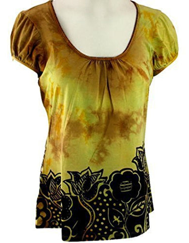 BamBooco Cap Sleeves Round Neck, Pima Cotton Spandex Blend - Big Flowers