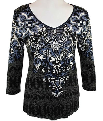 Vanilla Sugar, V-Neck , Rhinestones Top Accented With Geometric Designs - Barona