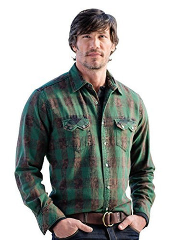 Ryan Michael Distressed Buffalo Plaid Elk Snaps Saw Tooth Pocket Western Shirt