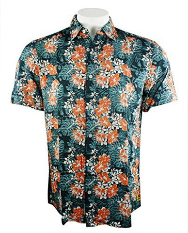 Margaritaville - Hibiscus, BBQ Short Sleeve Men's Tropical Print Shirt