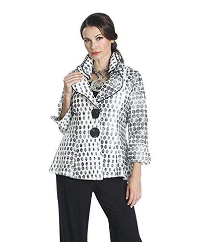 IC Collection Multi Dot, Dual Button Closure Split Cuff Sleeve Asian Styled Jacket