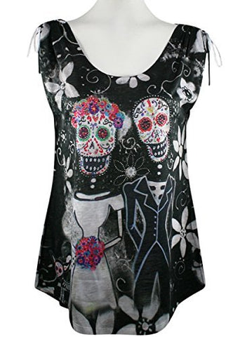 Big Bang Clothing - Day of the Dead Couple, Sleeveless Rhinestone Accented Top