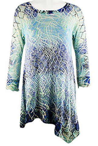 Cubism - Unbalanced, 3/4 Sleeve, Asymmetric Hem, Scoop Neck Tunic Top