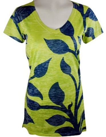 Vintage Highway - Acid Leaves, Short Sleeve, Top with Soft Burn Outs