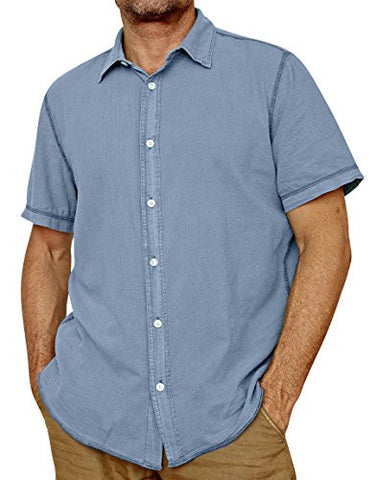 Margaritaville - Copen Blue, Lightweight Enzyme Washed Men's Baja Cotton Shirt