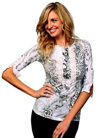 IDI Fashion - Eyelet Lace, 3/4 Sleeve, Sublimation Ruffled Rhinestone Top