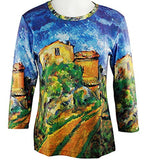 Breeke - Maison Maria with a view of Chateau Noir, 3/4 Sleeve, Scoop Neck Top