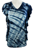 Gypsy Daisy - Blue Tie Dye, Ruffled Short Sleeve V-Neck Young Contemporary Top