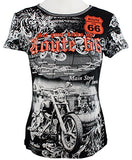 Big Bang Clothing - Route 66 Short Sleeve Scoop Neck Rhinestone Motorcycle Print