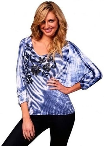 IDI Fashion - Denim Blue, Dolman Sleeve Blue Top with Stud Detailing