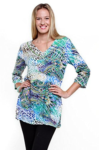 Joyous & Free - DaVinci, 3/4 Sleeve Tunic Mini Dress with V-Neck Collar