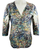Cubism Jungle Sights Top Diagonal Edge Ruffle Print with Burn Outs