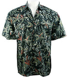 Bamboo Cay - Shadow Flowers, Tropical Style Lightweight Cotton Men's Shirt