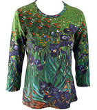 Van Gogh Irises, Scoop Neck 3/4 Sleeve Hand Silk-Screened Art Novelty Top